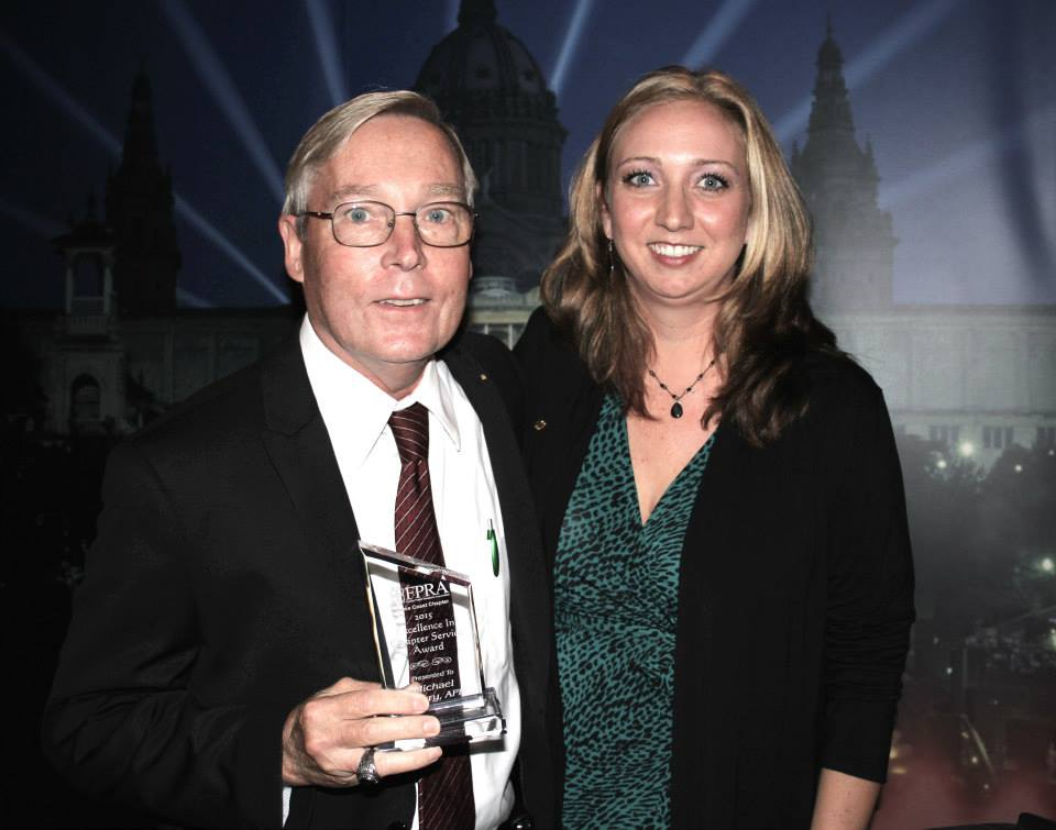 Michael Cleary, recipient of the President's Award for Excellence in Chapter Service and Chapter President Tessa Friederichs.