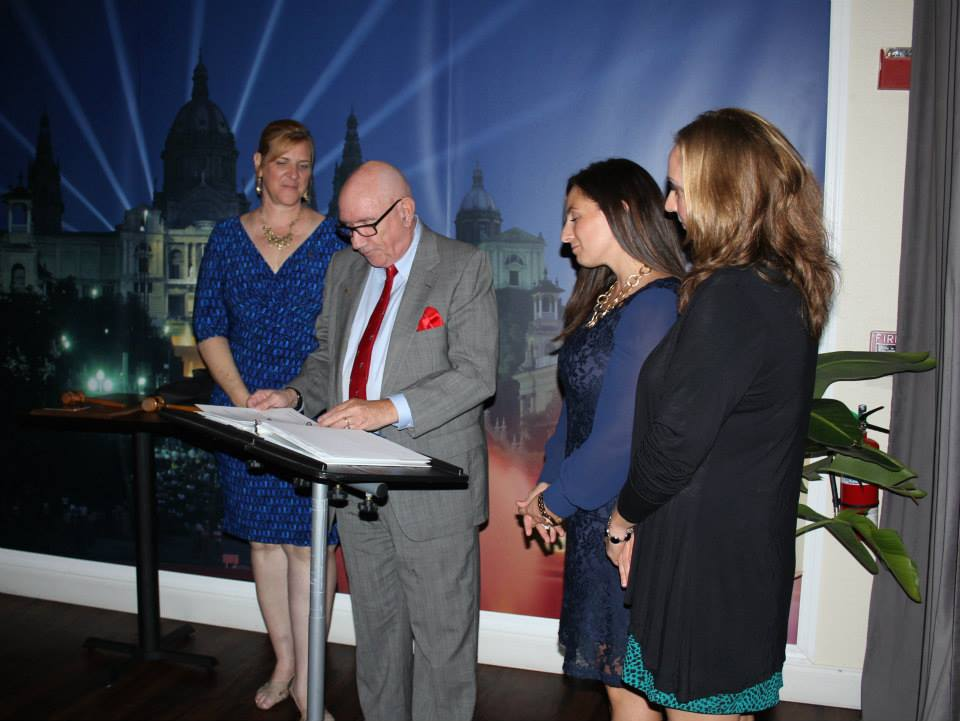 Dick Baumbach swears in 2015-16 President Becky Crisafulli, President Elect Angelia Deluccia and Immediate Past President Tessa Friederichs.
